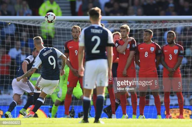 Leigh Griffiths of Scotland scores his sides first goal from a freekick during the FIFA 2018 World Cup Qualifier between Scotland and England at...