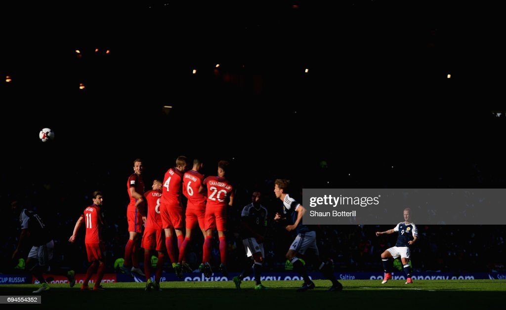 Leigh Griffiths of Scotland scores his sides second goal from a freekick during the FIFA 2018 World Cup Qualifier between Scotland and England at Hampden Park National Stadium on June 10, 2017 in Glasgow, Scotland.