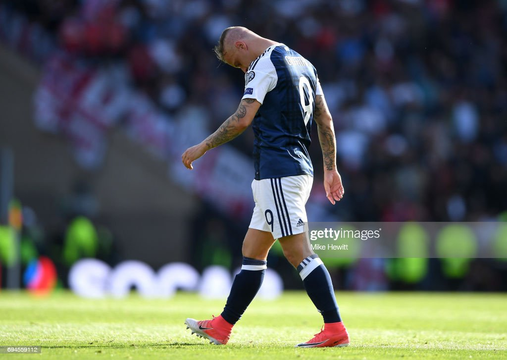 Leigh Griffiths of Scotland walks off dejected after the FIFA 2018 World Cup Qualifier between Scotland and England at Hampden Park National Stadium on June 10, 2017 in Glasgow, Scotland.