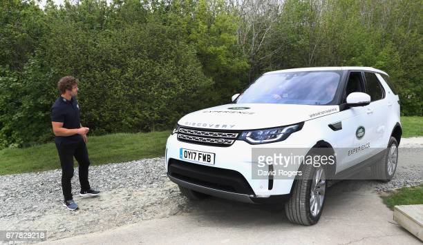 Leigh Halfpenny a Land Rover ambassador instructs fellow Land Rover ambassador Owen Farrell during a day of off road driving with Land Rover at...