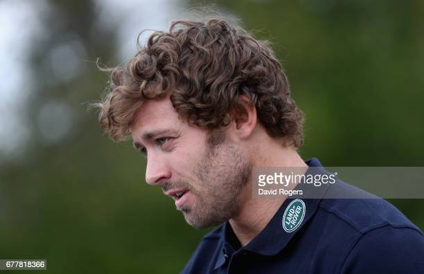 Leigh Halfpenny a Land Rover ambassador looks on during a day of off road driving with Land Rover at Eastnor Castle on May 3 2017 in Ledbury England
