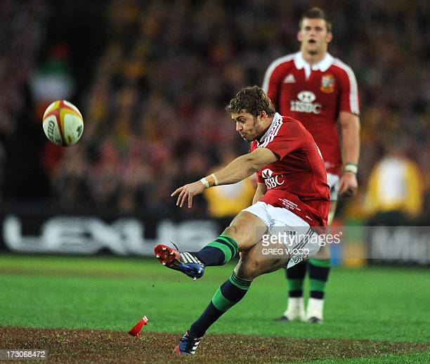 Leigh Halfpenny from the British and Irish Lions kicks on goal during the third and final rugby union Test in Sydney on July 6 2013 IMAGE STRICTLY...