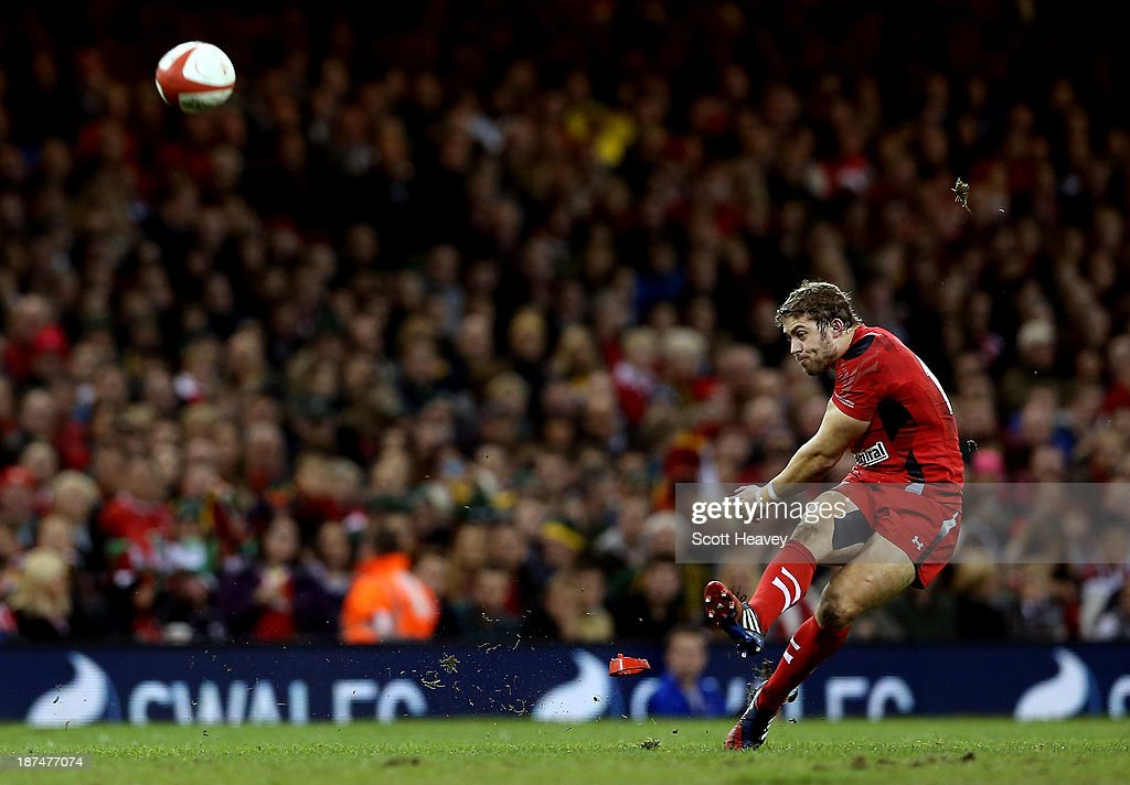 Leigh Halfpenny kicks a penalty for Wales during an International between Wales and South Africa at Millennium Stadium on November 9, 2013 in Cardiff, Wales.