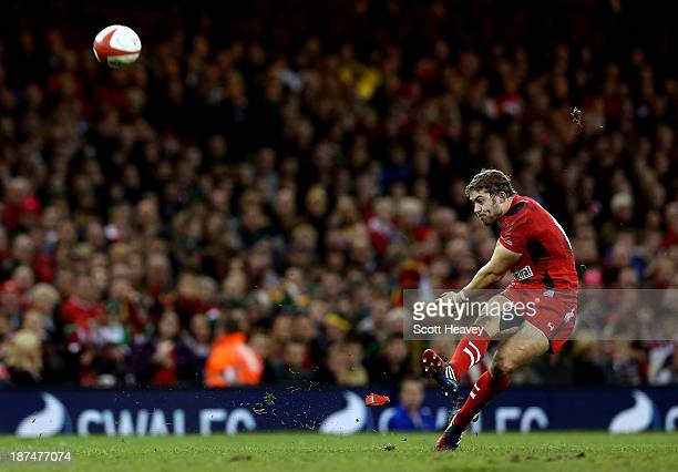 Leigh Halfpenny kicks a penalty for Wales during an International between Wales and South Africa at Millennium Stadium on November 9 2013 in Cardiff...