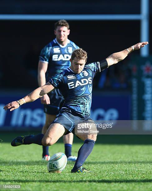 Leigh Halfpenny of Cardiff Blues kicks a penalty during the Heineken Cup Pool Six match between Cardiff Blues and Toulon at Cardiff Arms Park on...