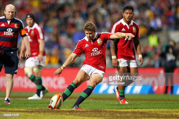Leigh Halfpenny of the British Irish Lions on his way to eleven from eleven conversions during the tour match between the Western Force and the...
