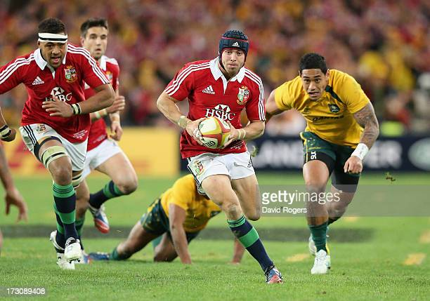 Leigh Halfpenny of the Lions breaks with the ball during the International Test match between the Australian Wallabies and British Irish Lions at ANZ...
