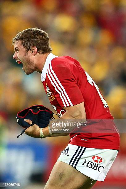 Leigh Halfpenny of the Lions celebrates winning the International Test match between the Australian Wallabies and British Irish Lions at ANZ Stadium...
