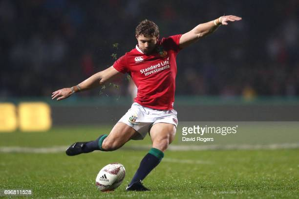 Leigh Halfpenny of the Lions converts the try scored by Maro Itoje of the Lions during the 2017 British Irish Lions tour match between the Maori All...