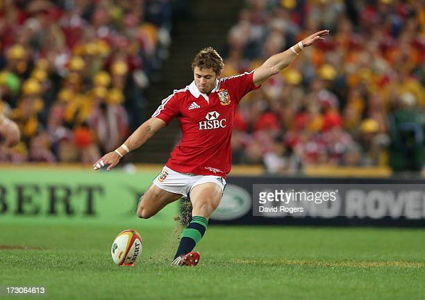 Leigh Halfpenny of the Lions kicks a long range penalty during the International Test match between the Australian Wallabies and British Irish Lions...