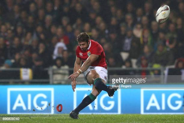 Leigh Halfpenny of the Lions kicks a peanlty during the 2017 British Irish Lions tour match between the Maori All Blacks and the British Irish Lions...