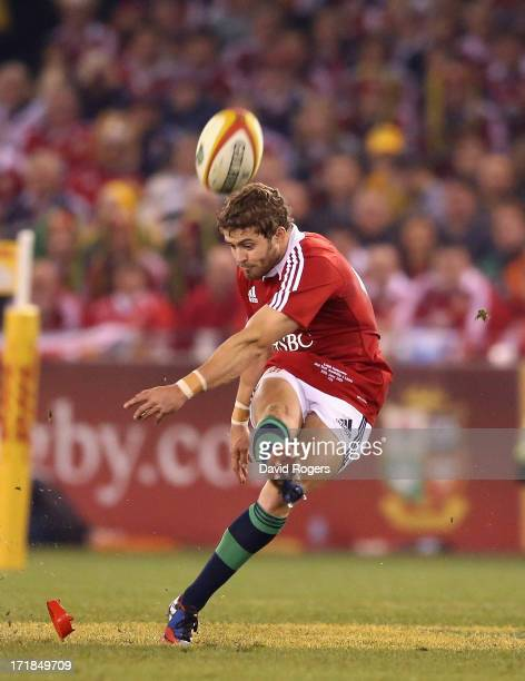 Leigh Halfpenny of the Lions kicks a penalty during game two of the International Test Series between the Australian Wallabies and the British Irish...