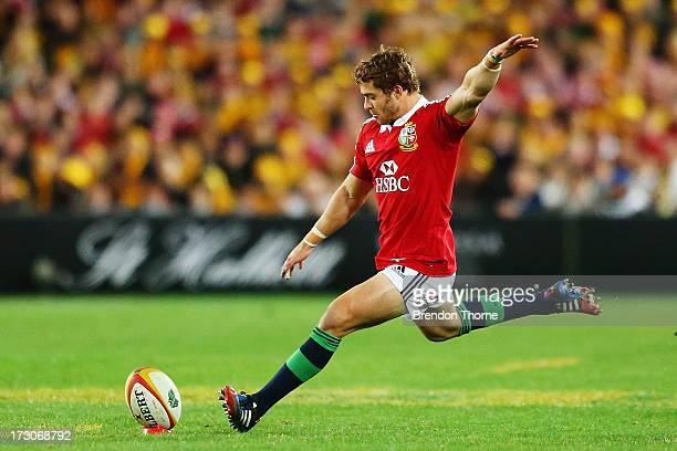 Leigh Halfpenny of the Lions kicks for goal during the International Test match between the Australian Wallabies and British Irish Lions at ANZ...