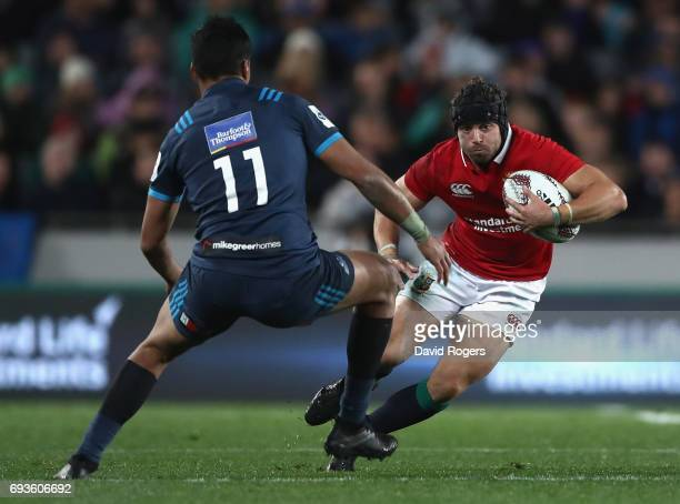 Leigh Halfpenny of the Lions takes on Rieko Ioane during the match between the Auckland Blues and the British Irish Lions at Eden Park on June 7 2017...