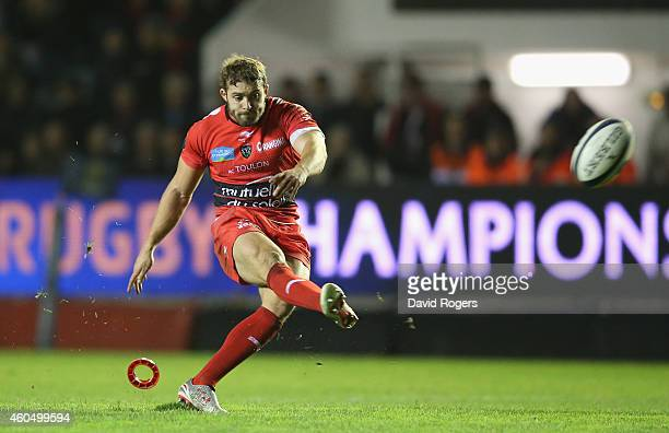 Leigh Halfpenny of Toulon kicks a penalty during the European Rugby Champions Cup pool three match between RC Toulon and Leicester Tigers at Felix...