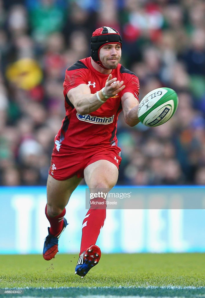 <a gi-track='captionPersonalityLinkClicked' href=/galleries/search?phrase=Leigh+Halfpenny&family=editorial&specificpeople=4232760 ng-click='$event.stopPropagation()'>Leigh Halfpenny</a> of Wales during the RBS Six Nations match between Ireland and Wales at the Aviva Stadium on February 8, 2014 in Dublin, Ireland.