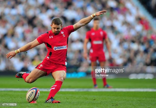 Leigh Halfpenny of Wales kicks at goal during the RBS Six Nations match between England and Wales at Twickenham Stadium on March 9 2014 in London...