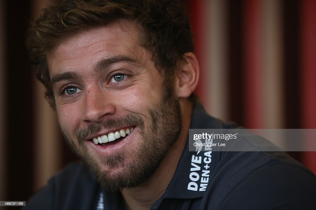 <a gi-track='captionPersonalityLinkClicked' href=/galleries/search?phrase=Leigh+Halfpenny&family=editorial&specificpeople=4232760 ng-click='$event.stopPropagation()'>Leigh Halfpenny</a> talks to the media at Royal Garden Hotel on September 15, 2015 in London, England.