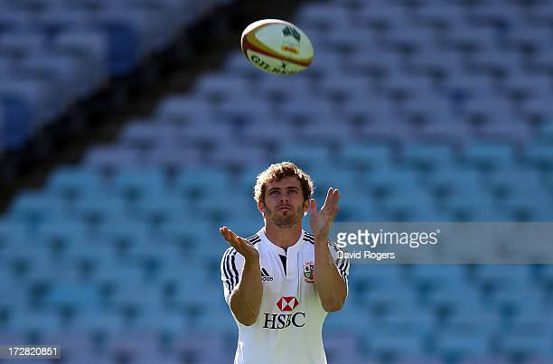 Leigh Halfpenny the Lions fullback catches the ball during the British Irish Lions kicking session at ANZ Stadium on July 5 2013 in Sydney Australia