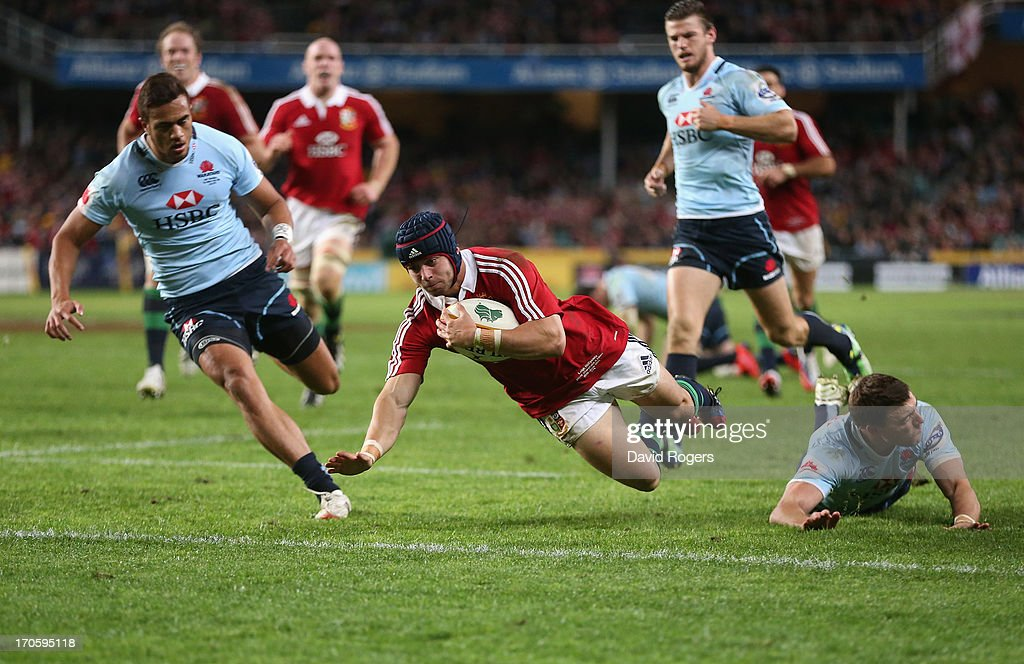 Leigh Halfpenny, the Lions fullback, dives over for his second try during the match between the NSW Waratahs and the British & Irish Lions at Allianz Stadium on June 15, 2013 in Sydney, Australia.