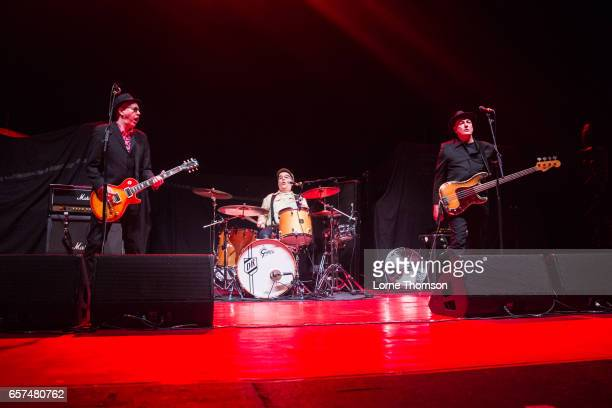 Leigh Heggarty David Ruffy and John 'Segs' Jennings of Ruts DC perform at Brixton Academy on March 24 2017 in London United Kingdom