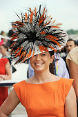 Leigh Johnson winner of the What Best To Wear style contest with Harvey Nichols attends Ladies Day at the Investec Derby Festival at Epsom Racecourse...