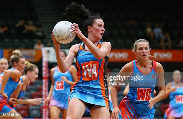 Leigh Kalsbeek of Canberra in action during round one of the ANL match between Canberra Giants and Netball NSW Waratahs at Sydney Olympic Park Sports...