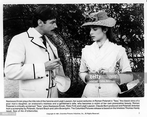 Leigh Lawson and Nastassja Kinski talk in a scene from the movie 'Tess' circa 1979