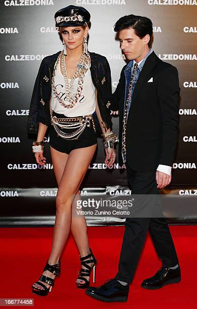 Leigh Lezark and Geordon Nicol attend Calzedonia Summer Show Forever Together on April 16 2013 in Rimini Italy