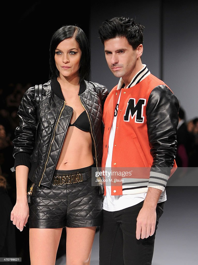 Leigh Lezark and Geordon Nicol attend the Moschino show as a part of Milan Fashion Week Womenswear Autumn/Winter 2014 on February 20, 2014 in Milan, Italy.
