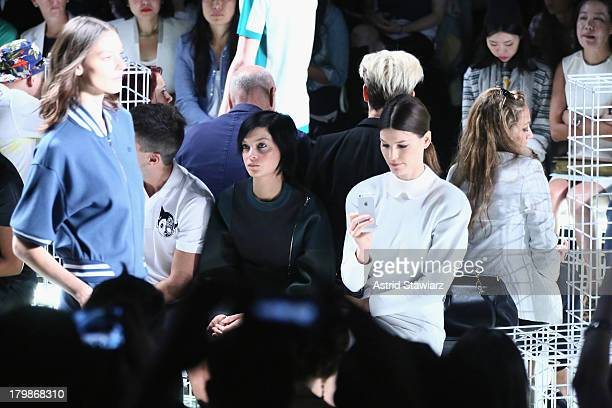 Leigh Lezark and Hanneli Mustaparta attend the Lacoste fashion show during MercedesBenz Fashion Week Spring 2014 at The Theatre at Lincoln Center on...