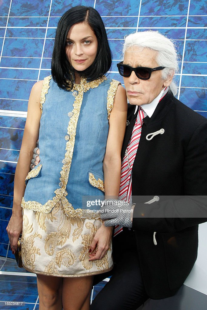 <a gi-track='captionPersonalityLinkClicked' href=/galleries/search?phrase=Leigh+Lezark&family=editorial&specificpeople=618872 ng-click='$event.stopPropagation()'>Leigh Lezark</a> and Karl Lagerfeld attend the Chanel Spring / Summer 2013 show as part of Paris Fashion Week at Grand Palais on October 2, 2012 in Paris, France.