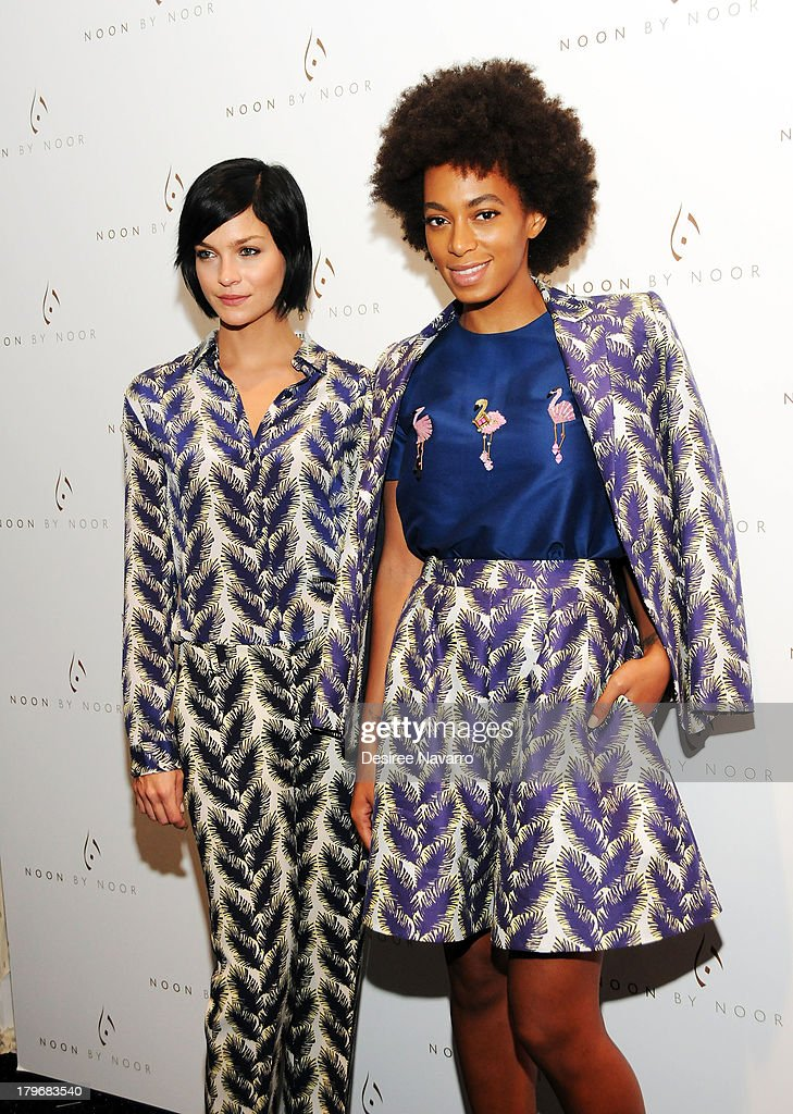 Leigh Lezark and Solange Knowles attend the Noon By Noor show during Spring 2014 Mercedes-Benz Fashion Week at The Studio at Lincoln Center on September 6, 2013 in New York City.