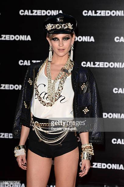 Leigh Lezark arrives at the Calzedonia 'Forever Together' show on April 16 2013 in Rimini Italy
