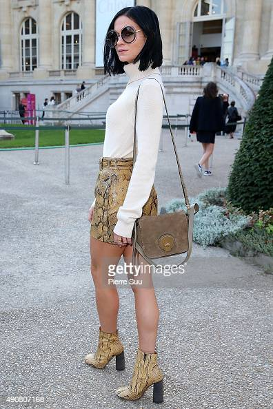 Leigh Lezark arrives at the Chloe show as part of the Paris Fashion Week Womenswear Spring/Summer 2016 on October 1 2015 in Paris France