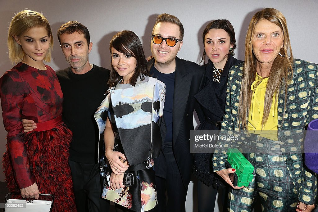 Leigh Lezark, Giambattista Valli, Miroslava Duma, David Wertheimer, guest and Anna Dello Russo pose together backstage at the Giambattista Valli Fall/Winter 2013 Ready-to-Wear show as part of Paris Fashion Week on March 4, 2013 in Paris, France.