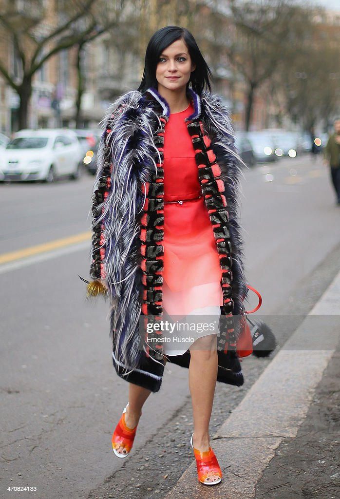 Leigh Lezark is seen outside the Fendi Fashion Show on day 2 of Milan Fashion Week Womenswear Autumn/Winter 2014 on February 20, 2014 in Milan, Italy.