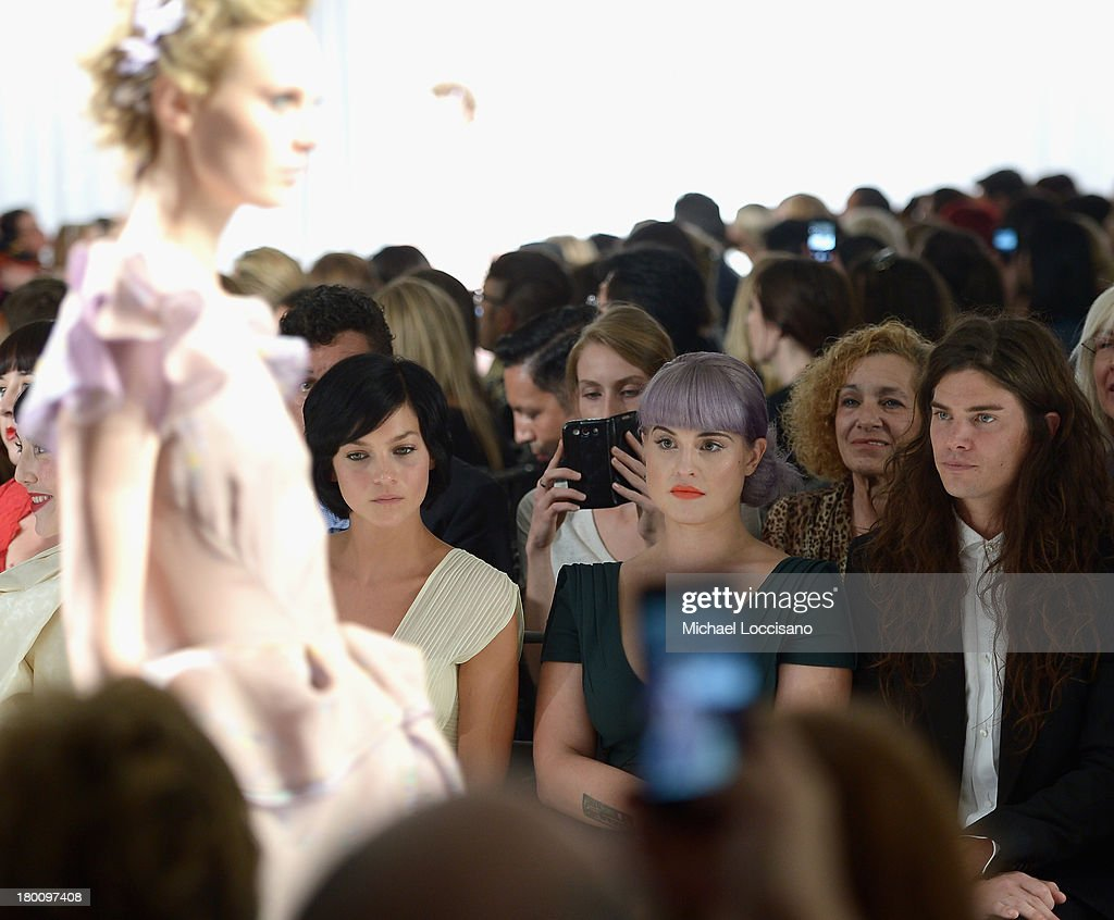 Leigh Lezark, Kelly Osbourne and Matthew Mosshart attend the Zac Posen fashion show during Mercedes-Benz Fashion Week Spring 2014 at Center 548 on September 8, 2013 in New York City.