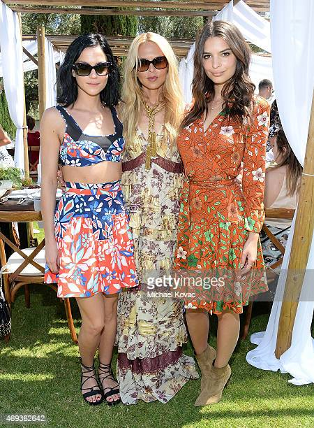 DJ Leigh Lezark Rachel Zoe and actress Emily Ratajkowski enjoying Moet Ice Imperial at The Zoe Report and DVF Brunch hosted by Rachel Zoe at...