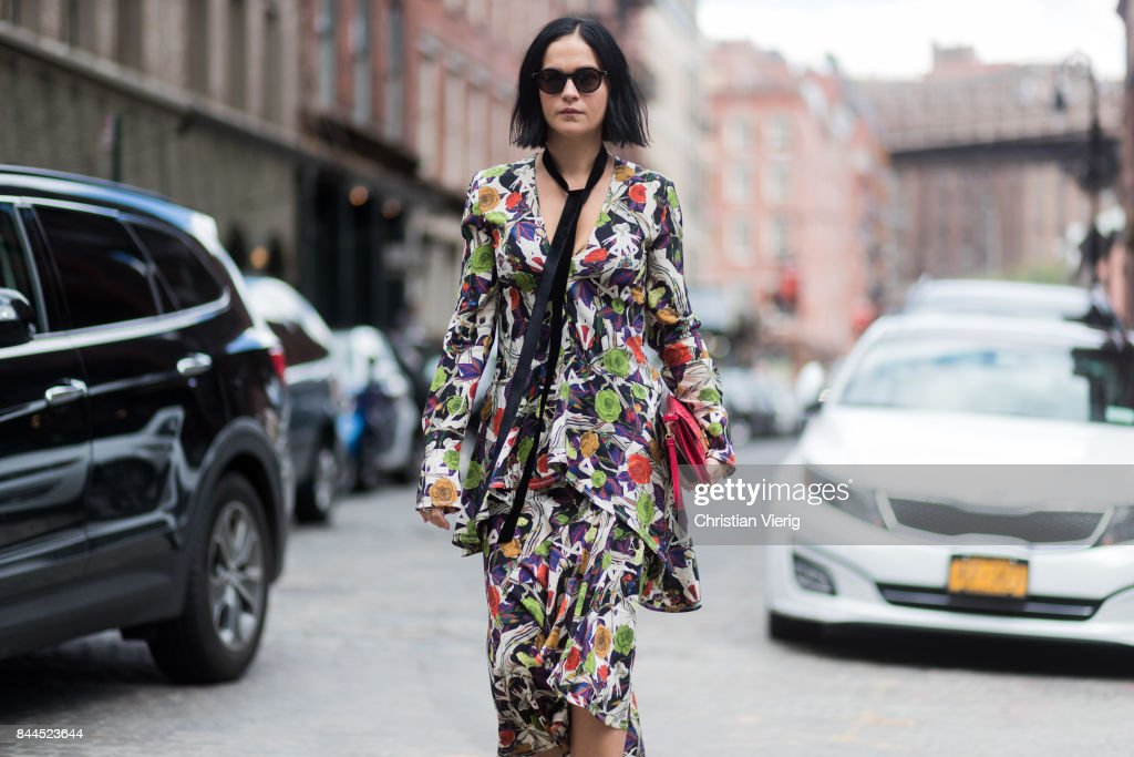Leigh Lezark wearing a dress with floral print seen in the streets of Manhattan outside Jason Wu during New York Fashion Week on September 8, 2017 in New York City.