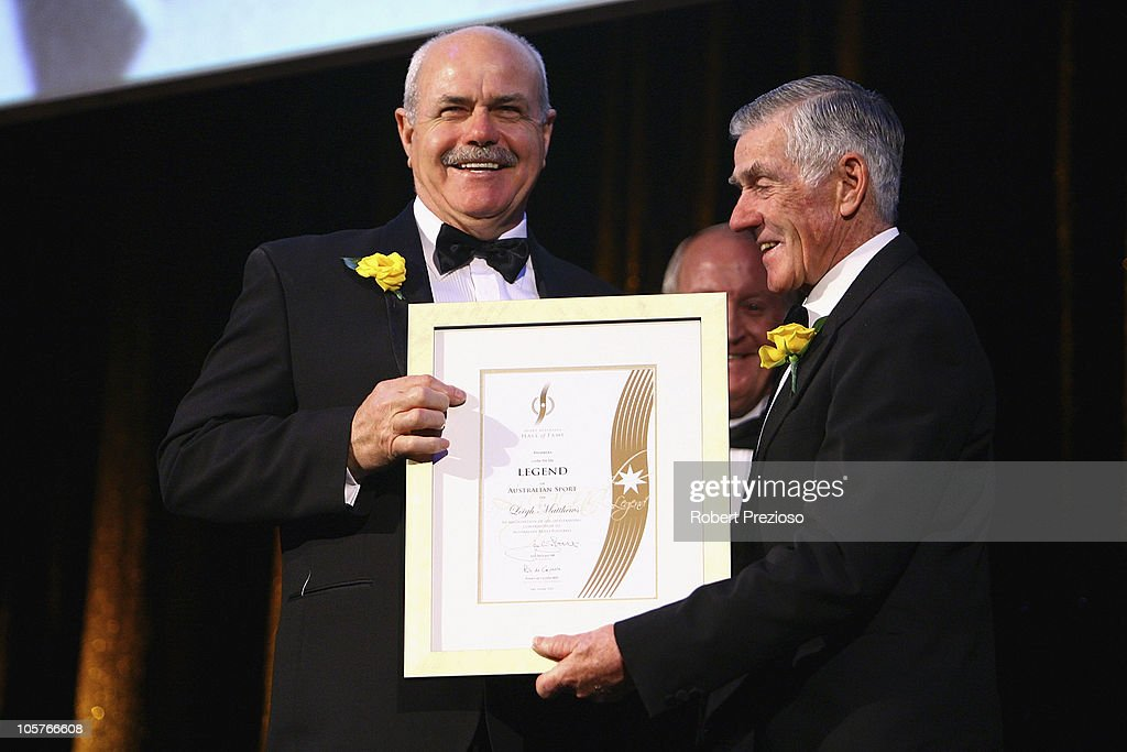 Leigh Matthews is elevated to Legend status during the Sport Australia Hall of Fame at Crown Casino on October 20, 2010 in Melbourne, Australia.