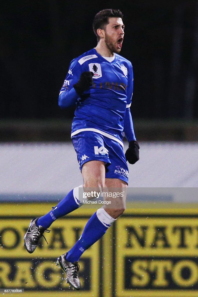 Leigh Minopoulos of South Melbourne celebrates a goal in the first minute during the FFA Cup round of 16 match between between South Melbourne FC and Sorrento FC at Lakeside Stadium on August 23, 2017 in Melbourne, Australia.