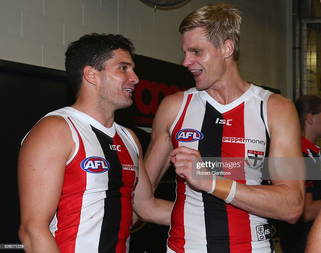 Leigh Montagna and <a gi-track='captionPersonalityLinkClicked' href=/galleries/search?phrase=Nick+Riewoldt&family=editorial&specificpeople=176552 ng-click='$event.stopPropagation()'>Nick Riewoldt</a> of the Saints celebrate after the Saints defeated the Demons during the round six AFL match between the Melbourne Demons and the St Kilda Saints at Etihad Stadium on April 30, 2016 in Melbourne, Australia.