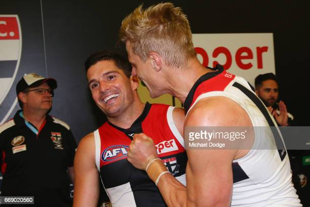 Leigh Montagna and Nick Riewoldt of the Saints celebrates the win during the round four AFL match between the Collingwood Magpies and the St Kilda...