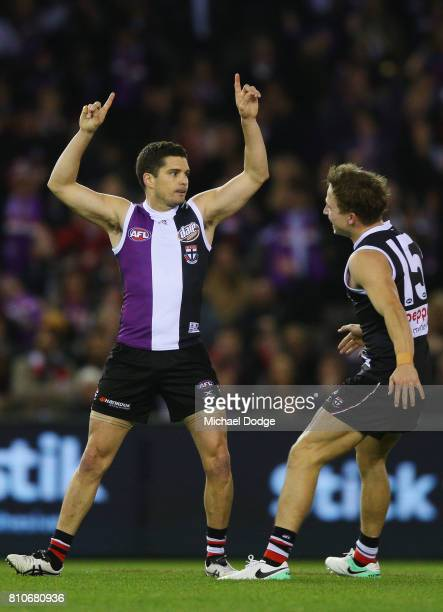 Leigh Montagna of the Saints celebrates a goal during the round 16 AFL match between the St Kilda Saints and the Richmond Tigers at Etihad Stadium on...