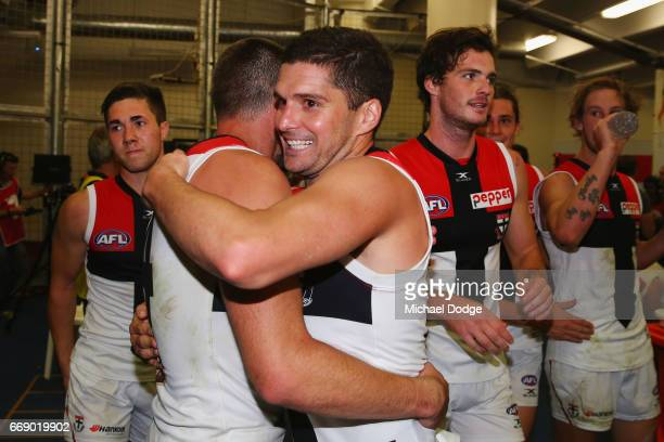 Leigh Montagna of the Saints celebrates the win during the round four AFL match between the Collingwood Magpies and the St Kilda Saints at Etihad...