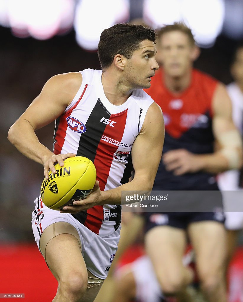 Leigh Montagna of the Saints runs with the ball during the round six AFL match between the Melbourne Demons and the St Kilda Saints at Etihad Stadium on April 30, 2016 in Melbourne, Australia.