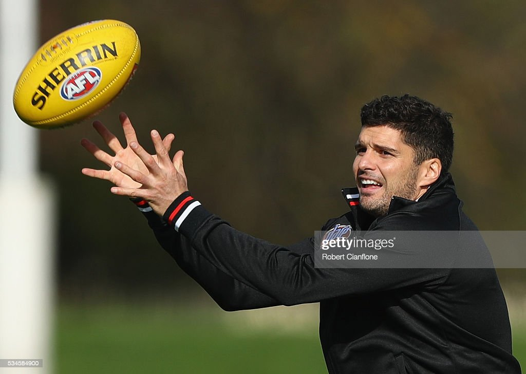 Leigh Montagna of the Saints takes the ball during a St Kilda Saints AFL training session at Moorabbin Oval on May 27, 2016 in Melbourne, Australia.