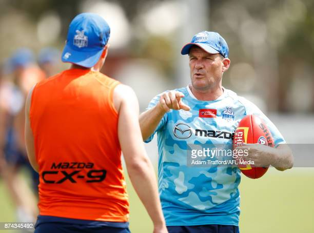 Leigh Tudor Forwards Coach of the Kangaroos gestures during the North Melbourne Kangaroos training session at Arden St on November 15 2017 in...