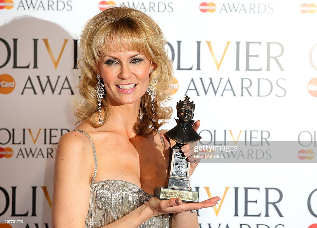 Leigh Zimmerman poses in the press room at The Laurence Olivier Awards at The Royal Opera House on April 28, 2013 in London, England.